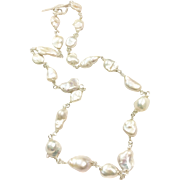 Delicate Hand Wrapped Baroque Keshi Biwa Freshwater Cultured Pearls Necklace Sterling Silver Clasp