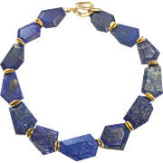 Chunky Royal Blue Lapis Lazuli Choker Necklace Gold Plate Clasp