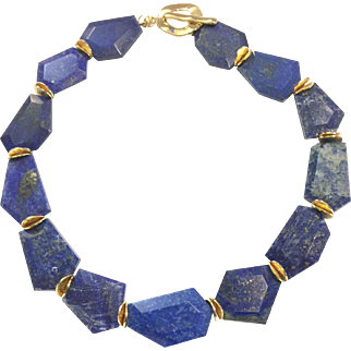 Chunky Royal Blue Lapis Lazuli Choker Necklace Gold Plate Clasp