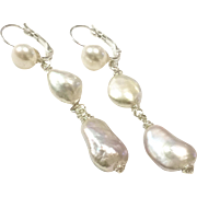 Long Dangling Baroque Pearl Lever Back Earring