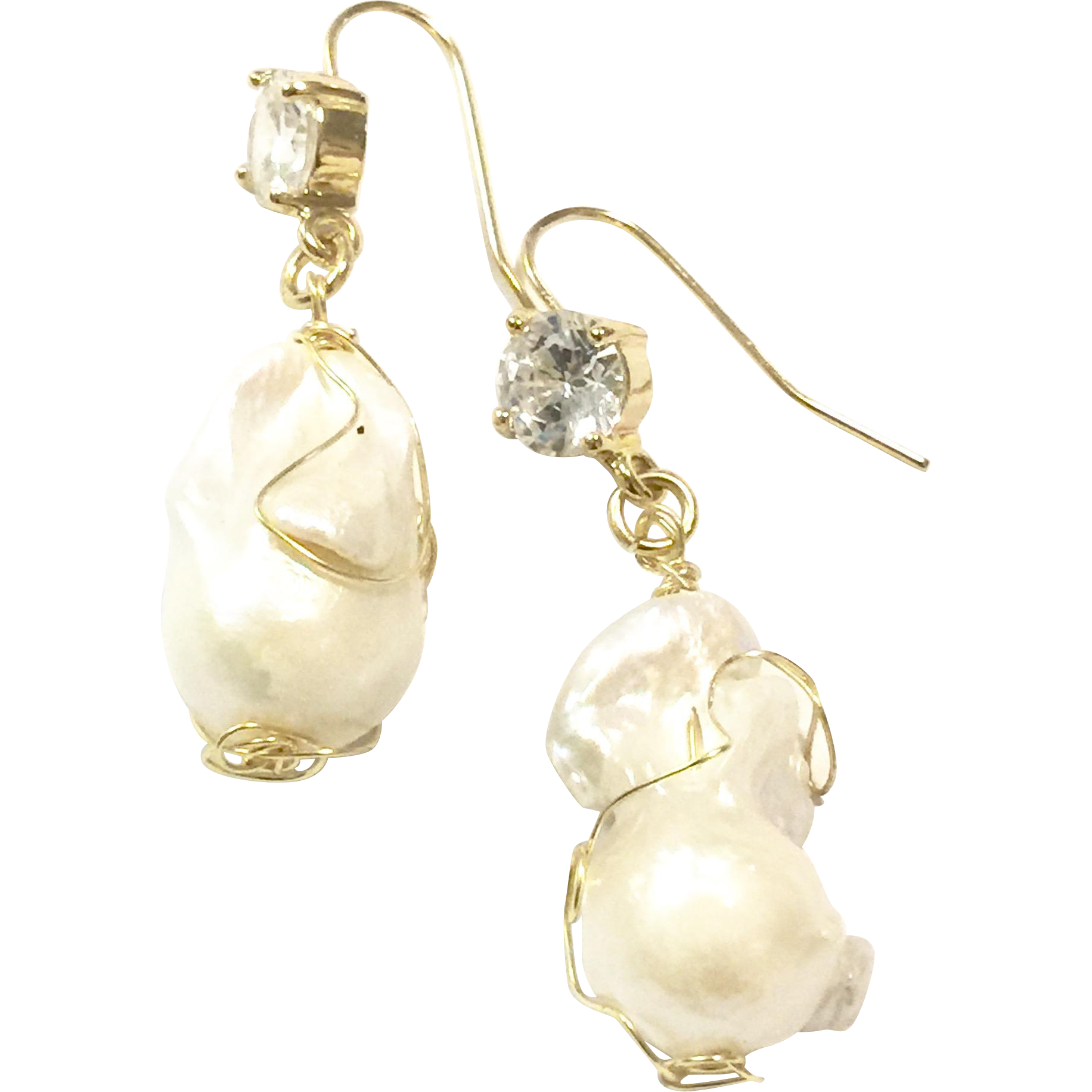 Large Baroque Freshwater Pearls Dangling Earring with CZ Large 25mm Like South Sea Pearls Ear Hook Wire