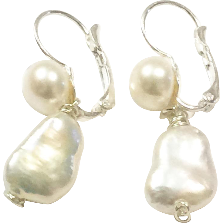 Dangling Baroque Freshwater Cultured Pearls Lever Back Earrings