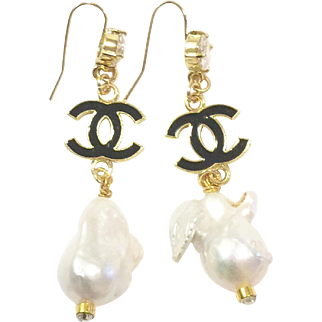 "3"" Long Dangling Large Baroque Freshwater Culture  Pearls Earrings 25mm Like South Sea Pearls on Gold Plate Ear Wire with CZ"