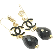 "3"" Long Dangling Black Onyx Earring on a Gold Plate Ear Wire with CZ and Black Enamel accents"