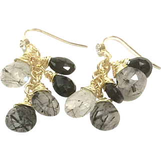 Dangling Black Onyx and Black Rutilated Quartz Tassel Earring in Gold Plate CZ Ear Wire Hook