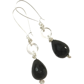 Long Dangling Black Onyx and Clear Quartz Ring Earring on Silver Plate Sheppard's Hook