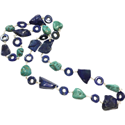 """28"""" Long Royal Blue Lapis Lazuli and Turquoise Chain Necklace handmade wire Wrapped"""
