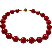 Rare Large 18mm Round Oxblood Red Coral Choker Necklace Gold Vermeil Sterling Silver Ball Clasp