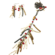 Jewels of the Sea Branch Pearls Natural Gold and Black Coral and Red Coral Cascading Dangling Lariat Style Chain Necklace and Matching Earring in Black Gunmetal