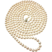 "100"" Long 9-10mm White Freshwater Cultured Pearls Necklace Multi-Strands Layered Choker Sterling Silver Clasp Hand Knotted"