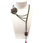 Black Freshwater Cultured Pearls Lariat Style Necklace with Antique Look Pink and Lavender Purple Crystal Brooch Style Flower and Burgundy Pearls Clusters and Black Gunmetal Chain