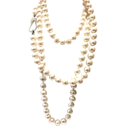 """50"""" 10-11mm White Freshwater Cultured Pearls Long Necklace or Double Triple Multi Strands Layered Choker with Sterling Silver Micro Pave Crystal Clasp"""