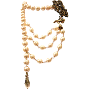 10-11mm Apricot Color Freshwater Cultured Pearls Lariat Style Necklace with Gold Crystals