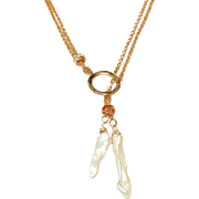 Lariat Style Necklace with Stick shape Freshwater Cultured Pearls in Rose Gold Plate