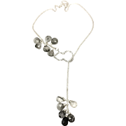 Lariat Style Necklace with Black Rutilated Quartz Cluster and Tassel and Sterling Silver Micro Pave CZ Gourd Loop