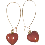 Heart Shape Red Carnelian Earring with Rose Gold Plate Sheppard's Ear Hook