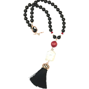 Red Coral, White Freshwater Cultured Pearl, Black Onyx, and Black Silk Tassel Necklace with Rose Gold Plate and Rhinestones