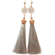 Heart Shape Rose Quartz Silk Tassel Dangling Earring