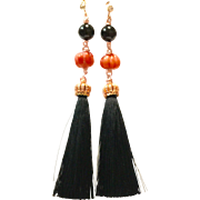 Carved Orange Coral and Black Onyx Silk Tassel Rose Gold Plate Dangling Earring