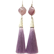 Purple Brazilian Agate and Lavender Silk Tassel long Dangling Earring in Real Silver Plate