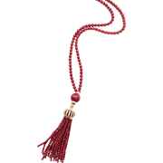 "Exceptional Red Coral Tassel Necklace 33"" plus 5"" Handmade in Rose Gold Plate Pave CZ Cap"