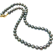 Classic Peacock Green 7-7.5mm Black Freshwater Cultured Pearls Necklace with Magnetic Clasp