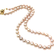 "17"" Natural Color Light Pink 7-7.5mm Freshwater Cultured Pearls Necklace with Crystal Studded Magnetic 18k Gold Plate Clasp"