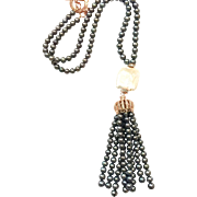 Long Black Freshwater Cultured Pearls Necklace with Pearl Tassel and Large Square White Pearl
