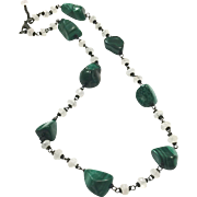 Hand Wrapped Natural Green Malachite and White Moonstone Necklace using Black Metal Wire