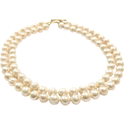 Classic Double Strand Large 10mm -11mm Light Gold Apricot Freshwater Cultured Pearl Choker Necklace with Gold Plate Toggle Clasp