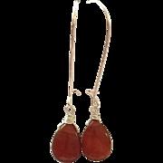 Teardrop Shape Red Carnelian Dangling Earring on Silver Plate Ear Wire Sheppard's Hook
