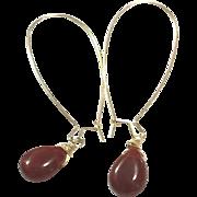 Teardrop Shape Red Carnelian Hand Wrapped on Yellow Gold Plate Ear Wire Sheppard's Hook