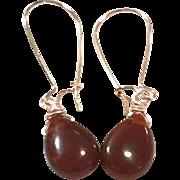 Teardrop Shape Red Carnelian Hand Wrapped on Rose Gold Plate Ear Wire Sheppard's Hook