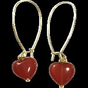 Heart Shape Red Carnelian Dangling Earring Hand Wrapped on Yellow Gold Plate Ear Wire Sheppard's Hook
