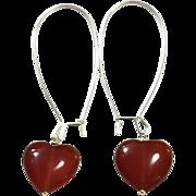 Heart Shape Red Carnelian Hand Wrapped on Silver Plate Ear Wire Sheppard's Hook