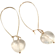 Heart Shape Light Pink Rose Quartz Dangling Earring on Rose Gold Plate Ear Wire Sheppard's Hook