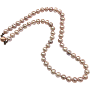 6.5-7mm High Quality Pink Lavender Purple Freshwater Cultured Pearl Necklace with Strong Magnetic Clasp in Antique Copper