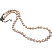 6.5-7mm High Quality Pink Lavender Purple Freshwater Cultured Pearls Necklace with Extension Chain in Black Metal