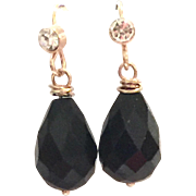 Briolette Drop Shape Black Onyx Earring on a Rose Gold Plate Ear Wire with CZ