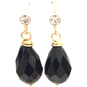 Briolette Drop Shape Black Onyx Dangling Earring on a Gold Plate Wire with CZ