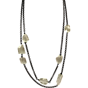 High Quality Light Green Amethyst on Black Metal Chain Necklace