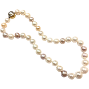 Gorgeous Very Large 8-13mm Graduated Mixed Color Freshwater Cultured Pearls Necklace In Pink White Lavender Purple with 2-Tone Sterling Silver Brushed Ball Clasp