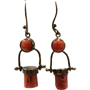 New Vintage Natural Red Mediterranean Coral & Oxidized Sterling Silver Earring