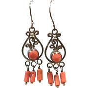 New Vintage Natural Red Mediterranean Coral & Sterling Silver Chandelier Earring