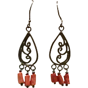 New Vintage Red Mediterranean Coral & Oxidized Sterling Silver Chandelier Earring