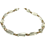 High Quality Green Amethyst Necklace Accented with Gold Biwa Pearls and Gold Plate Roundel
