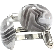 Botswana Striped Agate Cuff Links in White Gold Color