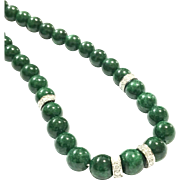 New Vintage 7.5mm Imperial Emerald Green Jadeite Jade 18K White Gold 1.10ct Diamond Necklace