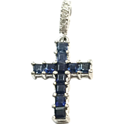 New Old Stock 14K White Gold Blue Sapphire and Diamond Cross Pendant