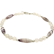 Brazilian Striped Purple Agate And Pale Lavender Chalcedony Bead Necklace with Brushed Silver Plate Clasp